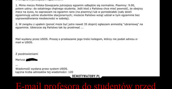 E-mail profesora